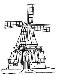 Kleurplaat Molen Embroidery Dutch Holland Windmills Windmill