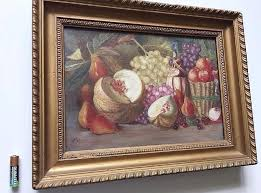 antique oil painting on canvas still life fruit carved gilt wood frame signed lays 19th century