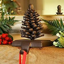 Cast Iron Pine Cone Mantle Christmas Stocking Holder Hanger H16 x ...