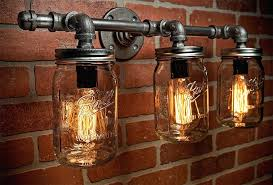 galvanized pipe light fixtures mason jar light fixture industrial light light rustic light vanity light wall