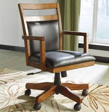 wooden desk chair with leather seat