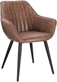 <b>Dining chair</b> with armrests made of <b>synthetic leather</b> and metal legs ...