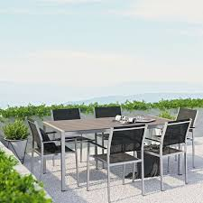 the modenzo 7 pc patio mesh chair plastic wood table aluminum outdoor dining set