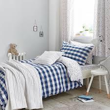 bianca cotton gingham single duvet cover set blue prev
