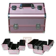 freeshipping lovely design high quality aluminum finished easy carrying grils makeup kit box in cosmetic bags