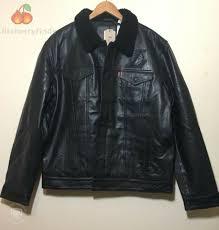 levis x nba la los angeles lakers mens l black leather trucker sherpa jacket