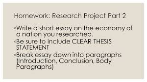 economic systems part homework research project part  homework research project part 2 ◦ write a short essay on the economy of a