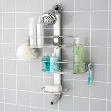 Bathroom:Minimalist Three Tiers Silver Floating Stainless Shower Caddy And  Small Shower Head Minimalist Three