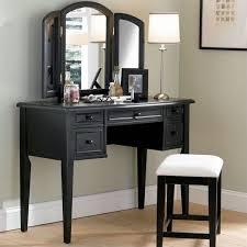 black makeup vanity with mirror