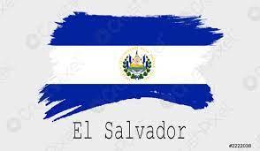 El salvador Fahne auf weißem Hintergrund - Foto vorrätig