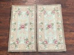 2 hand hooked area rugs set small oriental wool carpet lot pair kitchen french design wool hand hooked area rug