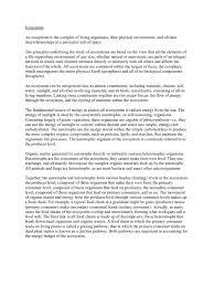 ecosystem essay