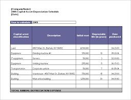 Fixed Asset Depreciation Schedule Asset Depreciation Schedule Example