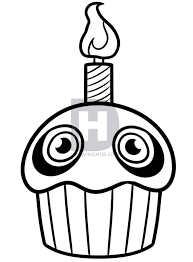 description here is the drawing of the five nights at freddy s cupcake now you can add some color to really bring it back to life
