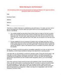 Hr Warning Letter Sample Warning Letter To Employee For Poor Performance Ohye