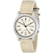 canvas watches overstock com the best prices on designer mens seiko men s automatic beige dial beige canvas watch snk803
