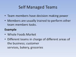 self managed teams compare and contrast the five types of teams