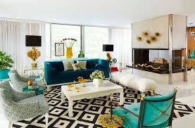 hollywood regency style furniture. In This Colorful, Hollywood Regency Style Living Room, A Velvety, Turquoise Sofa, Furniture I