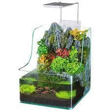 office desk aquarium. Amazon.com : Penn Plax Aqua Terrarium Planting Tank With Aquarium For Fish, Waterfall, LED Light, Filter, Desktop Size, 1.85 Gallon Pet Supplies Office Desk