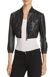 emporio cropped leather er jacket