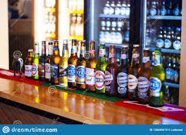 Beer Bottles On A Bar Counter Editorial Stock Image Image