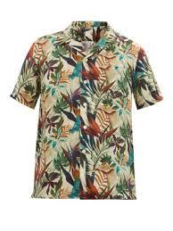 Tropical Print Cuban Collar Linen Shirt 120 Lino