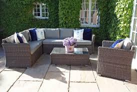 venice rattan garden lhf corner sofa armchair and coffee table set