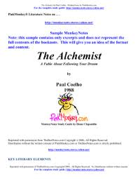 student study guide for the alchemist the alchemist by paulo coelho sample doc monkeynotes
