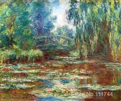 large canvas wall art water lily pond and bridge by claude monet high quality hand painted
