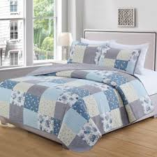 Buy Blue and Yellow Quilts from Bed Bath & Beyond & Great Bay Home Fiore Full/Queen Quilt Set in Blue/Grey Adamdwight.com