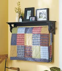 Best 25+ Quilt hangers ideas on Pinterest | Quilted wall hangings ... & Quilt Rack with Display Shelf Wall Mounted Blanket Throw Hanger Country Adamdwight.com