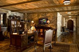 home office in basement. Basement Office Ideas Home Rustic With Dark Floor Stone Wall Earth Tone Colors In U
