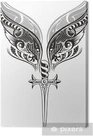 Obraz Křídla A Meč Tetování Design Na Plátně