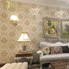 Vintage Luxus Europäischen Khaki Braun Beige Damasttapete Für Wände
