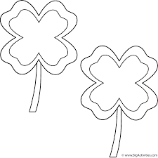 Four Leaf Clovers with border (2 clovers) - Coloring Page (St ...