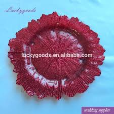 lck023 wine red colored glass plates classic wedding dinner plate