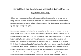 how is othello and desdemonas relationship doomed from the document image preview