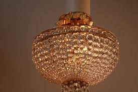 wonderful three light crystal basket semi flush mount chandelier with bronze frame and canopy