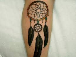 Simple Dream Catcher Tattoos Delectable Black Ink Dreamcatcher Tattoo On Leg
