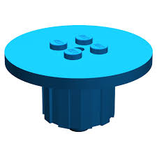 lego blue round table with studs in center