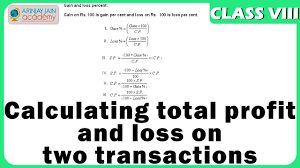 Calculating Total Profit And Loss On Two Transactions Profit And