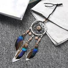 feathers dream catcher beaded wall hanging car home mini decor bead ornament new