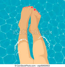 swimming pool background. Beautiful Female Foot In Swimming Pool Background - Csp48490953