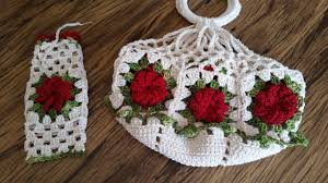 Resultado de imagem para como fazer bolsa para prato croche
