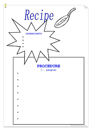 Recipe Paper Template Recipe Template English Esl Worksheets