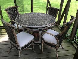 wicker patio set with 4 chairs and round table