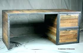 custom made reclaimed wood desk with file cabinet drawers steel industrial office furniture complete credenza cab