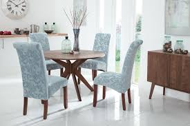 3 valley 120cm walnut fixed top round dining set with 4 kingston duck egg fl fabric chairs jpg