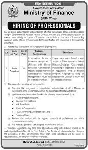 junior consultant jobs in ministry of finance islamabad 21 2016