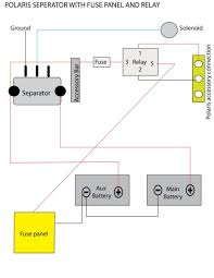 video dual battery setup separator diagram that follows the video polaris seperator additional fuse panel and relay